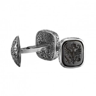 Gerochristo 7049N ~ Double Headed Eagle - Byzantine Silver & Bronze Cufflinks