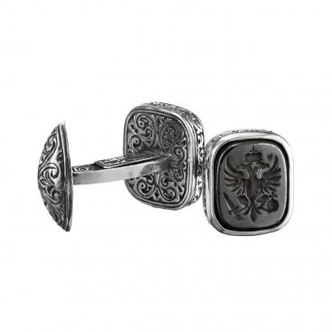 Gerochristo 7049N ~ Double Headed Eagle - Byzantine Silver & Bronze Cufflinks