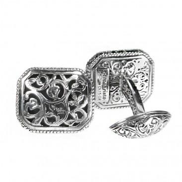 Gerochristo 7060 ~ Sterling Silver Medieval Byzantine Filigree Cufflinks