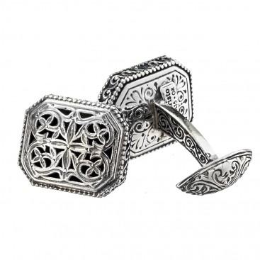 Gerochristo 7061 ~ Sterling Silver Medieval Byzantine Filigree Cufflinks