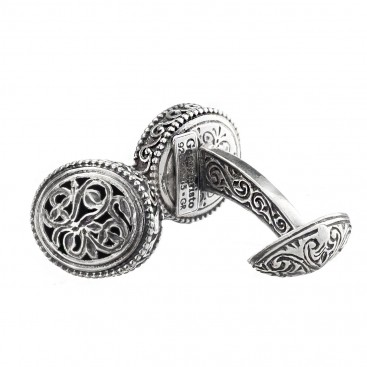 Gerochristo 7063~ Sterling Silver Medieval Byzantine Filigree Cufflinks