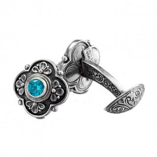 Gerochristo 7063N ~ Sterling Silver & Zircon Byzantine-Medieval Cufflinks