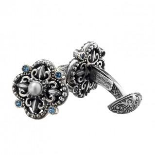 Gerochristo 7065N ~ Sterling Silver & Stones Byzantine-Medieval Cufflinks