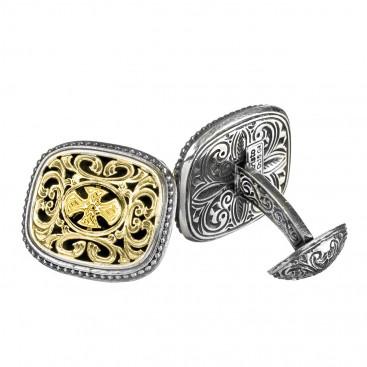 Gerochristo 7073 ~ Solid Gold & Silver Medieval-Byzantine Cross Cufflinks