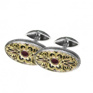 Gerochristo 7076~ Solid Gold, Silver & Rubies Medieval Byzantine Cufflinks