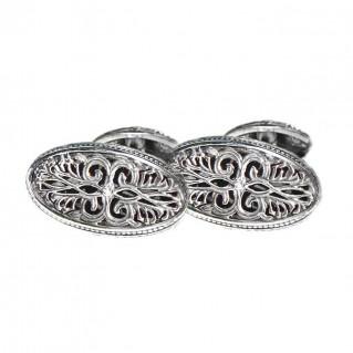 Gerochristo 7077 ~ Sterling Silver Medieval Byzantine Filigree Cufflinks