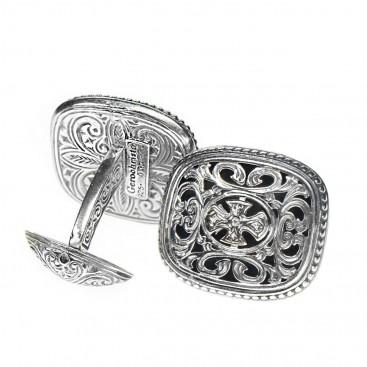 Gerochristo 7080 ~ Sterling Silver Medieval-Byzantine Cross Cufflinks