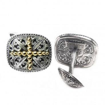 Gerochristo 7081 ~ Solid 18K Gold & Sterling Silver Medieval Cross Cufflinks