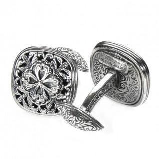 Gerochristo 7089 ~ Sterling Silver Byzantine-Medieval Filigree Cufflinks
