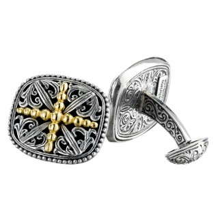 Gerochristo 7081 ~ Solid 18K Gold & Sterling Silver Medieval Cross Cufflinks