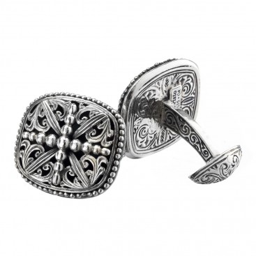 Gerochristo 7092 ~ Solid Sterling Silver Medieval Cross Cufflinks