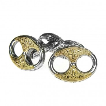 Gerochristo 7098 ~ Solid Gold & Sterling Silver Medieval Byzantine Cufflinks