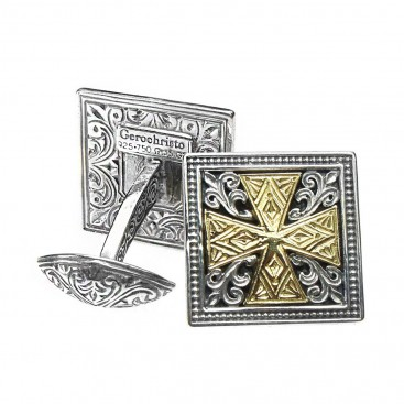 Gerochristo 7100 ~ Solid 18K Gold & Sterling Silver Medieval Cross Cufflinks