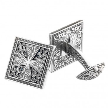 Gerochristo 7101 ~ Sterling Silver Medieval Cross Cufflinks