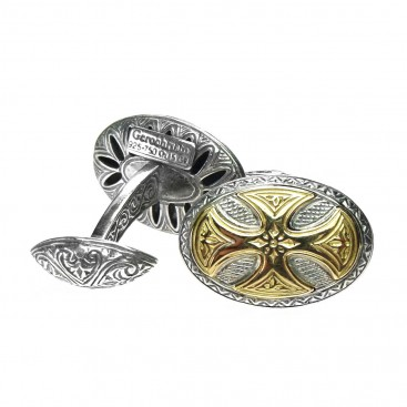Gerochristo 7102 ~ Solid Gold & Silver Medieval Cross Cufflinks