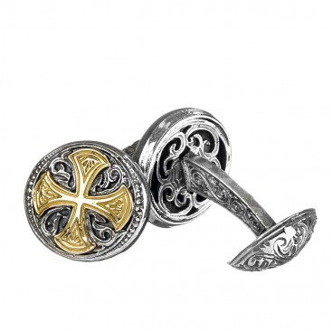 Gerochristo 7106 ~ Solid 18K Gold & Sterling Silver Medieval-Byzantine Cross Cufflinks