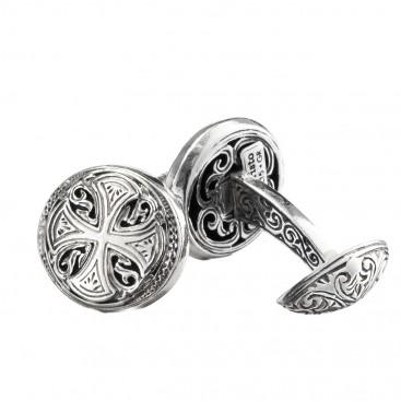 Gerochristo 7107 ~ Maltese Cross ~ Sterling Silver Medieval Cufflinks