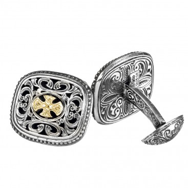Gerochristo 7108 ~ Solid Gold & Silver Medieval-Byzantine Cross Cufflinks