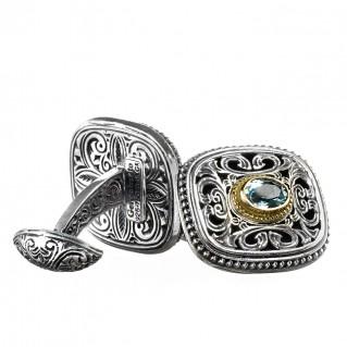 Gerochristo 7109 ~ Solid Gold, Silver & Blue Topaz Medieval Byzantine Cufflinks