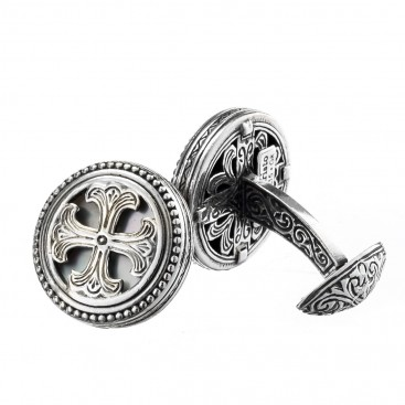 Gerochristo 7113 ~ Sterling Silver & Mother of Pearl Medieval Cross Cufflinks