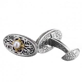 Gerochristo 7115 ~ Solid Gold, Silver & Pearls Medieval Byzantine Cufflinks