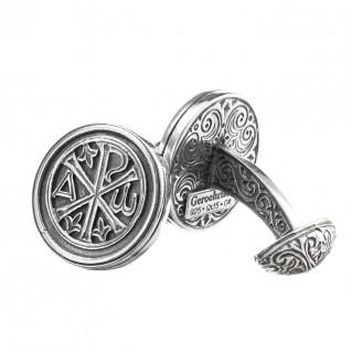 Gerochristo 7126 ~ Chi Rho-Chrismon ~ Sterling Silver Medieval Byzantine Cufflinks