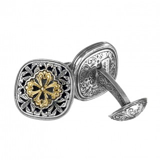 Gerochristo 7142N ~ Solid Gold & Silver Byzantine-Medieval Filigree Cufflinks