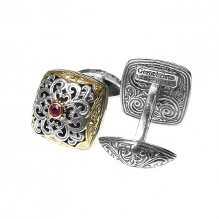Gerochristo 7144N ~ Solid Gold & Sterling Silver Medieval Byzantine Cufflinks