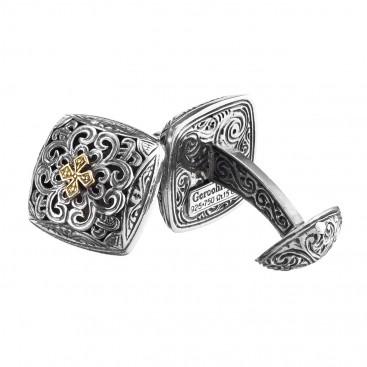 Gerochristo 7145N ~ Solid Gold & Sterling Silver Medieval Cross Cufflinks