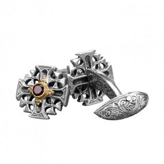Gerochristo 7149N ~ Solid Gold & Sterling Silver Medieval Cross Cufflinks