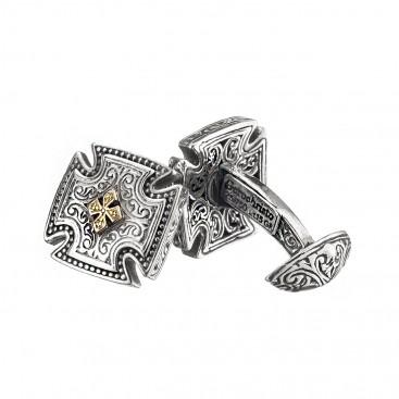 Gerochristo 7161N ~ Solid Gold & Sterling Silver Medieval Cross Cufflinks