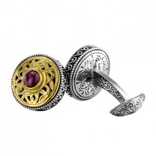 Gerochristo P7111N ~ Sterling Silver & Garnet Byzantine-Medieval Filigree Cufflinks