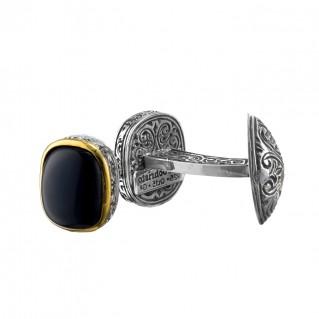 Gerochristo P7126N ~ Sterling Silver & Black Onyx Medieval-Byzantine Cufflinks