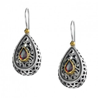 Gerochristo P1257N ~ Sterling Silver & Stones Medieval-Byzantine Drop Earrings