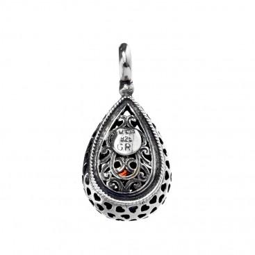 Gerochristo P1257N ~ Sterling Silver & Stone Medieval-Byzantine Charm Pendant