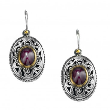 Gerochristo P1258N ~ Sterling Silver & Garnet Medieval-Byzantine Drop Earrings