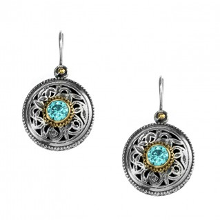 Gerochristo P1259N ~ Sterling Silver & Zircon Medieval-Byzantine Drop Earrings