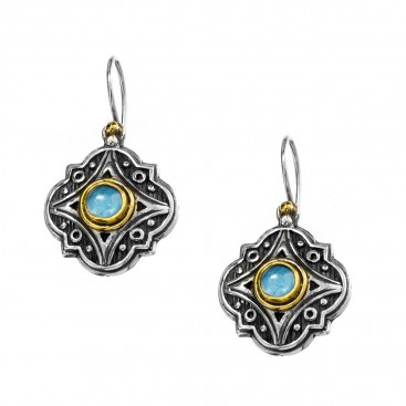 Gerochristo P1315N ~ Sterling Silver & Spinel Stones - Medieval Drop Earrings