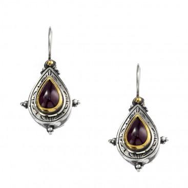 Gerochristo P1321N ~ Sterling Silver & Garnet Medieval-Byzantine Drop Earrings