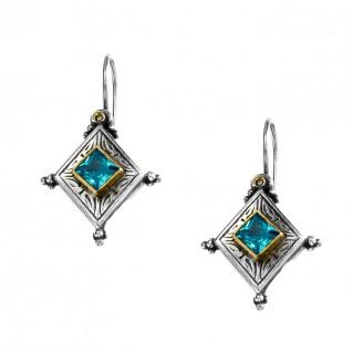 Gerochristo P1323N ~ Sterling Silver & Zircon Medieval-Byzantine Drop Earrings