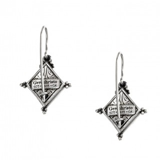 Gerochristo P1323N ~ Sterling Silver & Zircon Medieval-Byzantine Drop Earrings