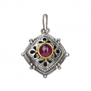 Gerochristo P1331N ~ Sterling Silver & Garnet Medieval-Byzantine Charm Pendant