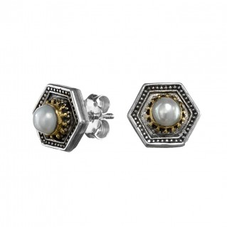 Gerochristo P1388N ~ Sterling Silver & Pearls Byzantine Stud Earrings