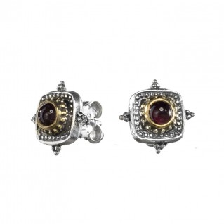 Gerochristo P1390N ~ Sterling Silver & Garnet Medieval-Byzantine Stud Earrings