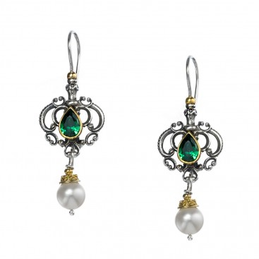 Gerochristo P1411N ~ Sterling Silver & Gemstones - Medieval Dangle Earrings