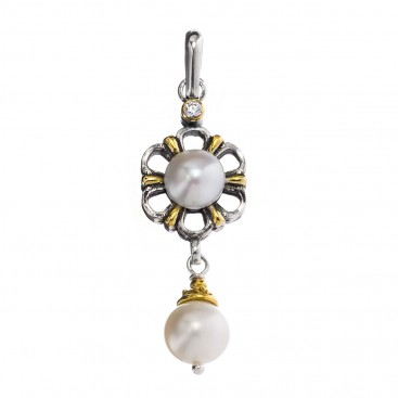 Gerochristo P1415N ~ Sterling Silver Flower Charm Pendant with Pearls
