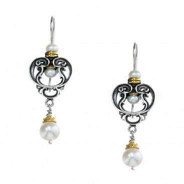 Gerochristo P1417N ~ Sterling Silver & Pearls - Medieval Dangle Earrings
