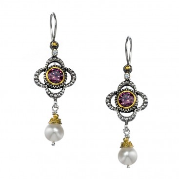 Gerochristo P1421N ~ Sterling Silver & Gems Medieval-Byzantine Drop Earrings