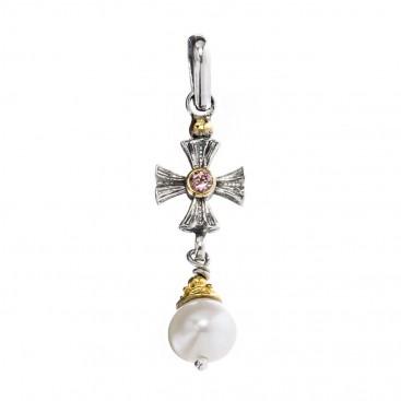 Gerochristo P1436N ~ Sterling Silver & Gems Medieval Cross Pendant