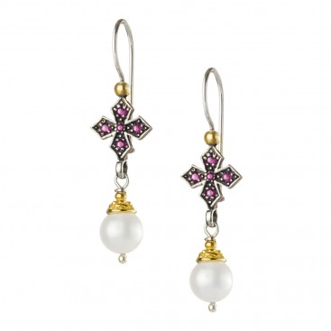 Gerochristo P1438N ~ Sterling Silver & Stones Medieval Dangle Cross Earrings